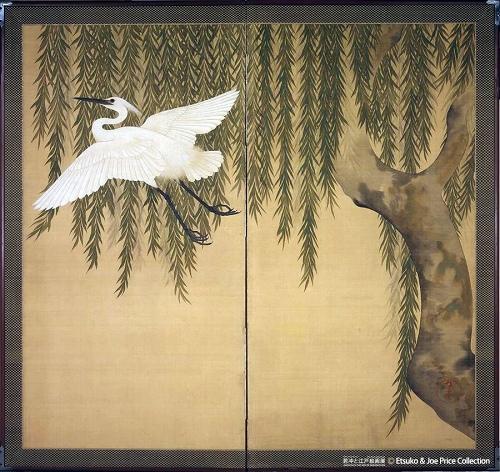 柳に白鷺図屏風/鈴木其一